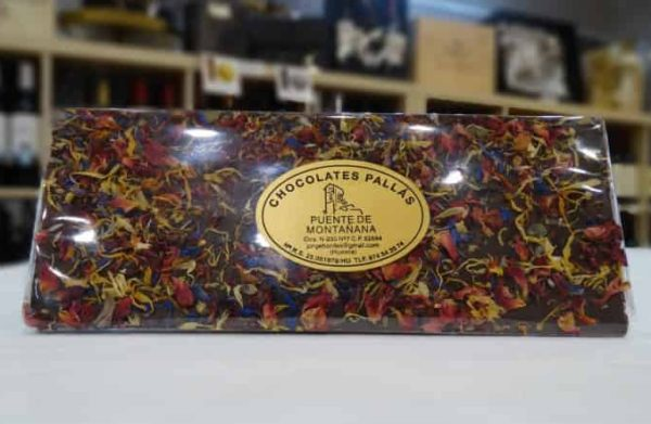 Chocolate negro con flores (Chocolates Pallás)