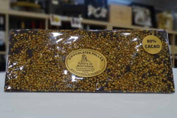 Chocolate 80% de cacao con polen de flores (Chocolates Pallás)